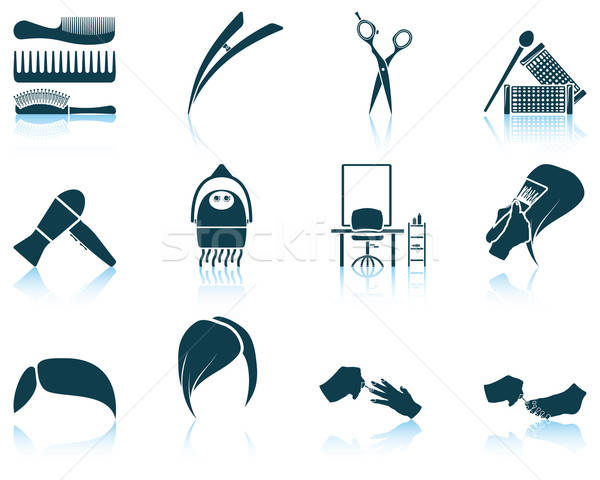 Set of hairdresser icon Stock photo © angelp