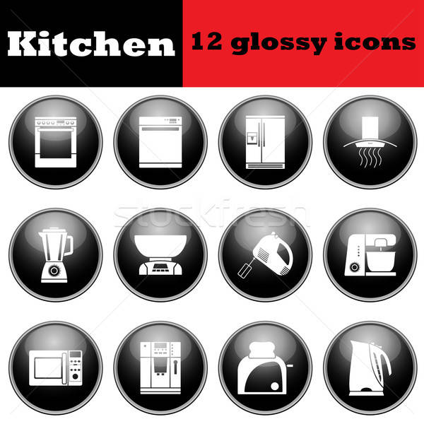 Set of glossy kitchen equipment glossy icons Stock photo © angelp