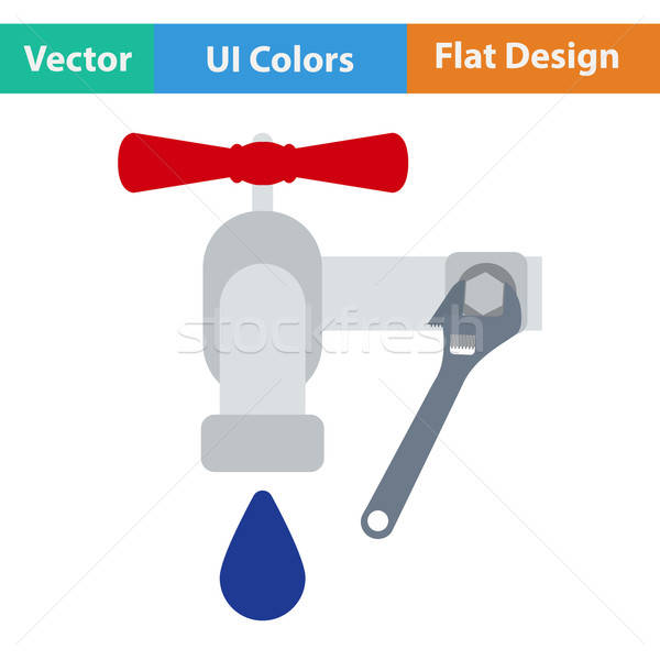 Flat design icon of wrench and faucet Stock photo © angelp