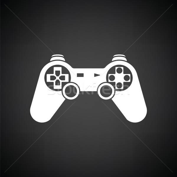 Gamepad icona bianco nero computer tecnologia segno Foto d'archivio © angelp