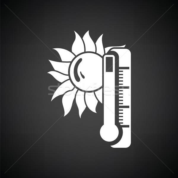 Yaz ısı ikon siyah beyaz güneş imzalamak Stok fotoğraf © angelp