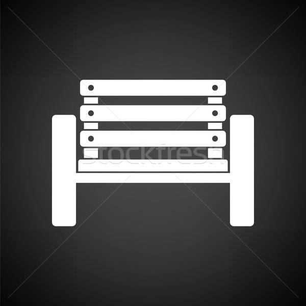 скамейке икона черно белые мяча черный Сток-фото © angelp