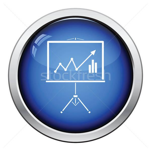 Analitica stand icona lucido pulsante design Foto d'archivio © angelp