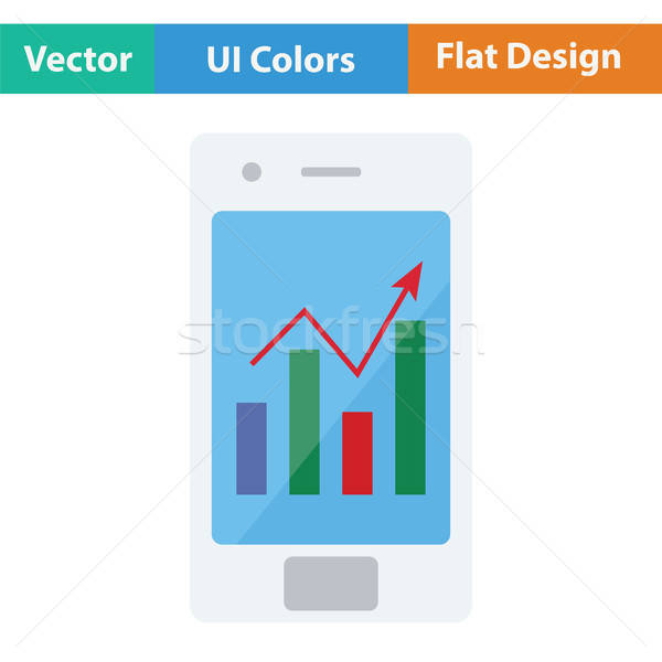 Smartphone with analytics diagram icon Stock photo © angelp