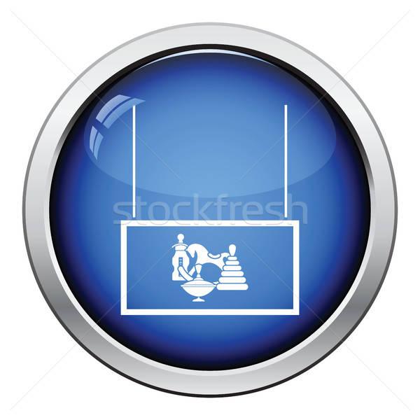 Speelgoed markt afdeling icon glanzend knop Stockfoto © angelp