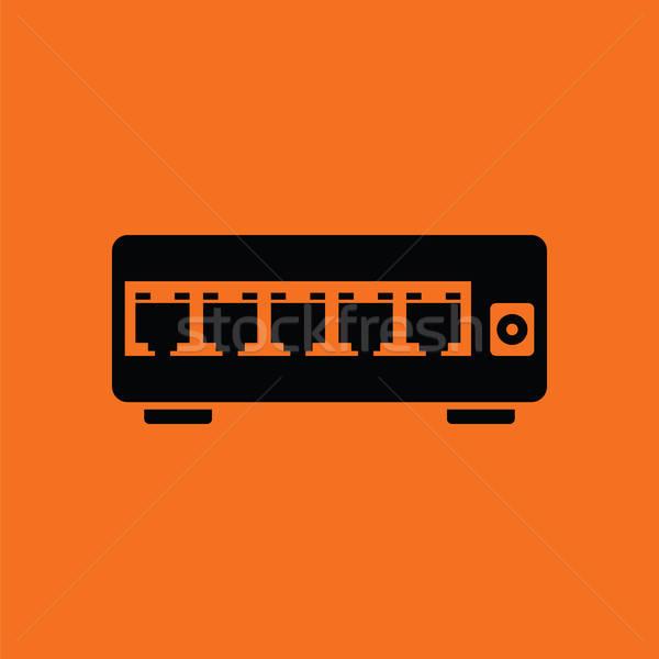 Ethernet переключатель икона оранжевый черный бизнеса Сток-фото © angelp