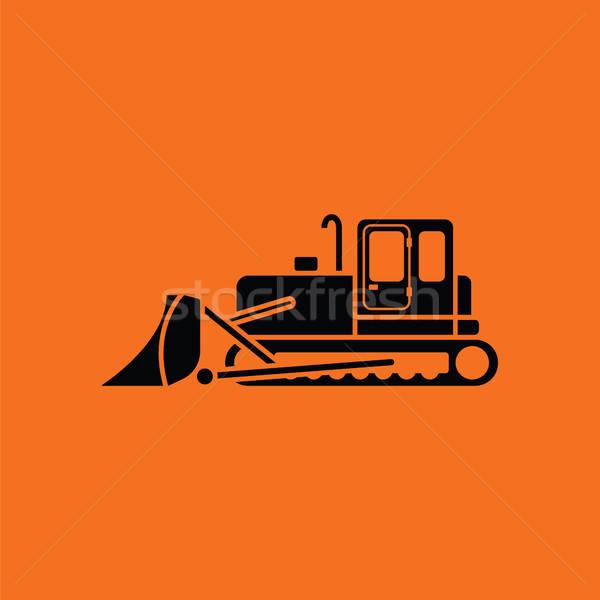 икона строительство бульдозер оранжевый черный технологий Сток-фото © angelp