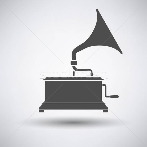 Stockfoto: Grammofoon · icon · grijs · muziek · teken · disco