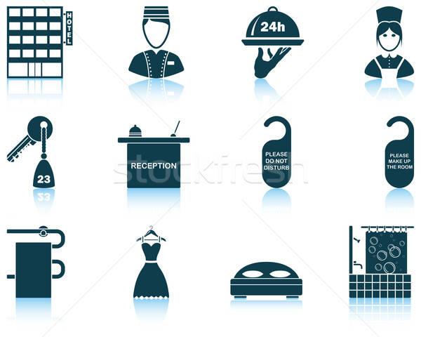 Szett hotel ikon szett tizenkettő ikonok tükröződések Stock fotó © angelp