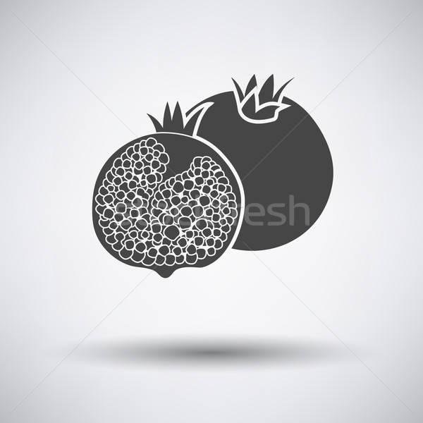 Granaatappel icon grijs natuur ontwerp teken Stockfoto © angelp