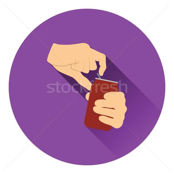 Emberi kezek nyitás alumínium konzerv ikon Stock fotó © angelp