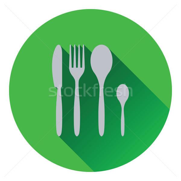 Ezüst étkészlet szett ikon étel fém csoport Stock fotó © angelp