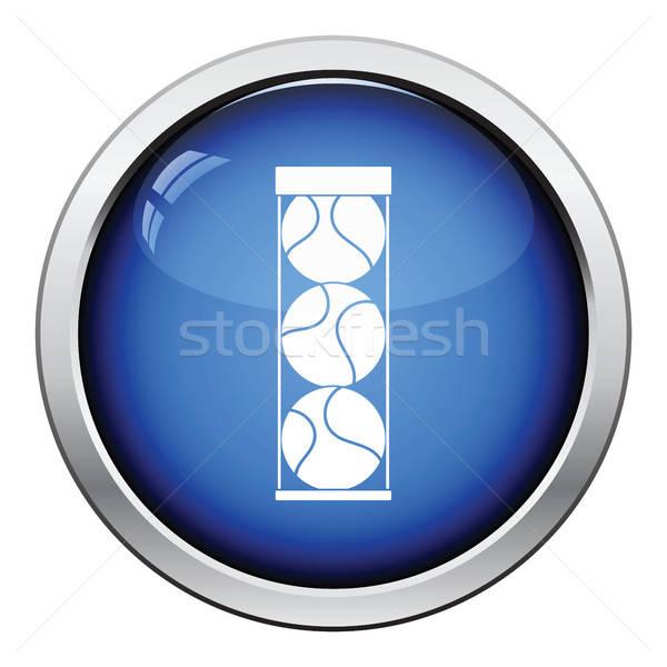 Balle de tennis contenant icône bouton design Photo stock © angelp