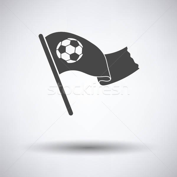Foto stock: Fútbol · aficionados · bandera · balón · de · fútbol · icono