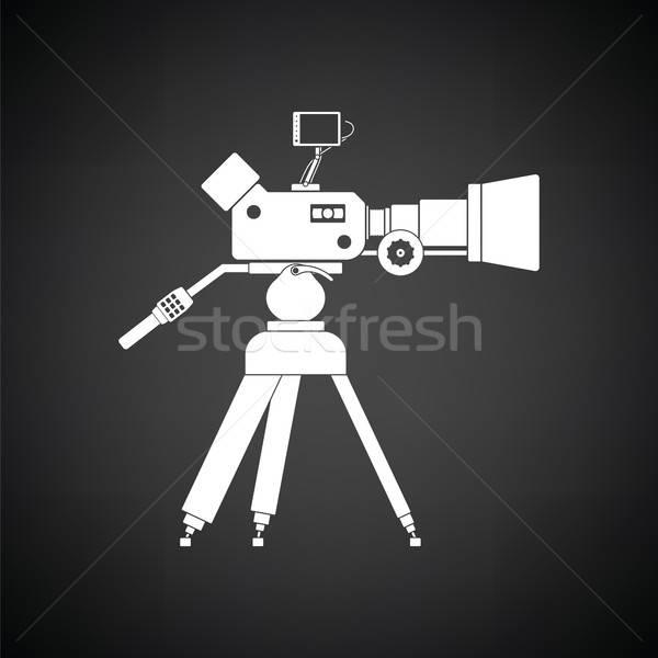 Cámara de cine icono blanco negro hombre tecnología fondo Foto stock © angelp