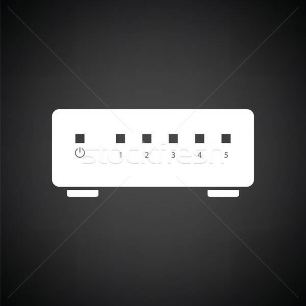Ethernet переключатель икона черно белые бизнеса компьютер Сток-фото © angelp