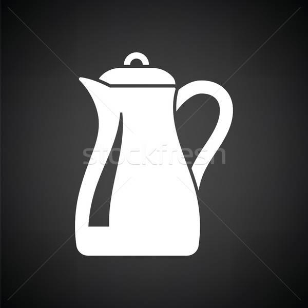 Vetro brocca icona bianco nero acqua alimentare Foto d'archivio © angelp