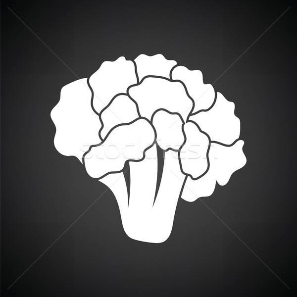 ストックフォト: カリフラワー · アイコン · 黒白 · 食品 · 背景 · 黒