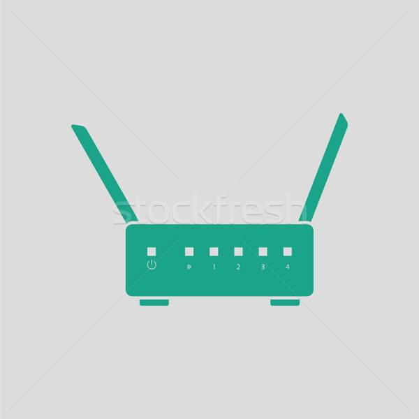 Wifi router ikona szary zielone biuro Zdjęcia stock © angelp