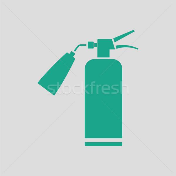 Yangın söndürücü ikon gri yeşil yangın imzalamak Stok fotoğraf © angelp