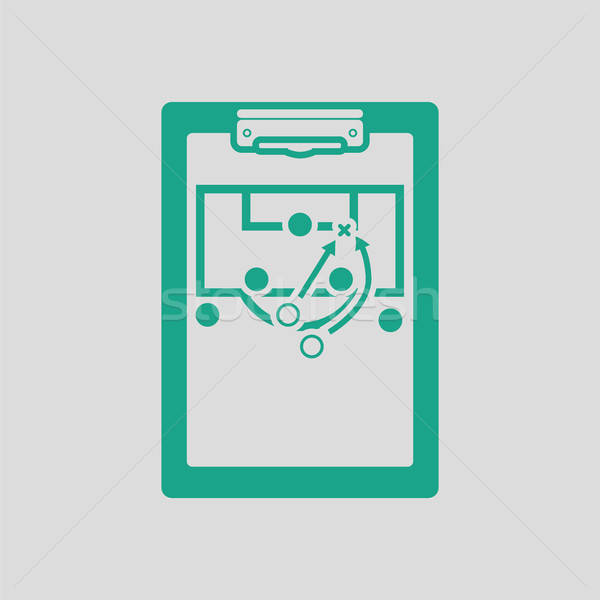 Voetbal coach tablet spel icon grijs Stockfoto © angelp