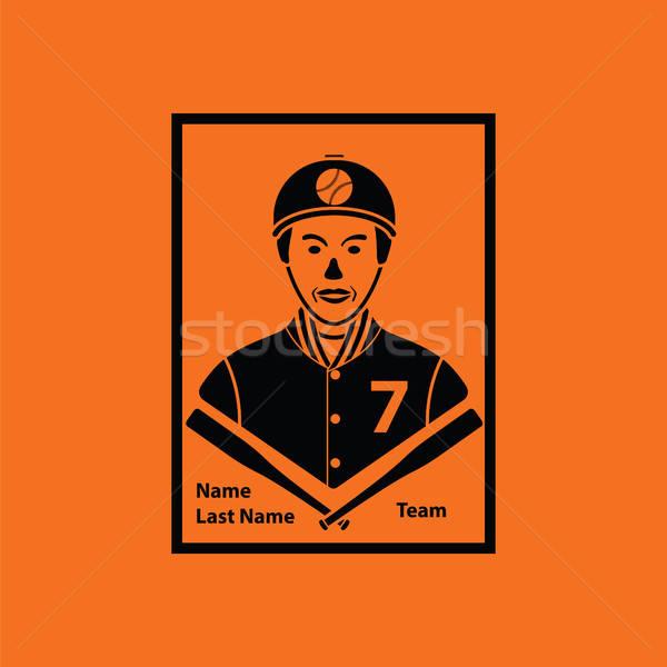 Stock fotó: Baseball · kártya · ikon · narancs · fekete · felirat