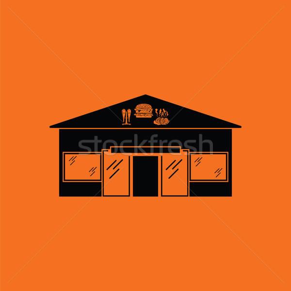 ストックフォト: 遊園地 · アイコン · オレンジ · 黒 · 建物 · バー