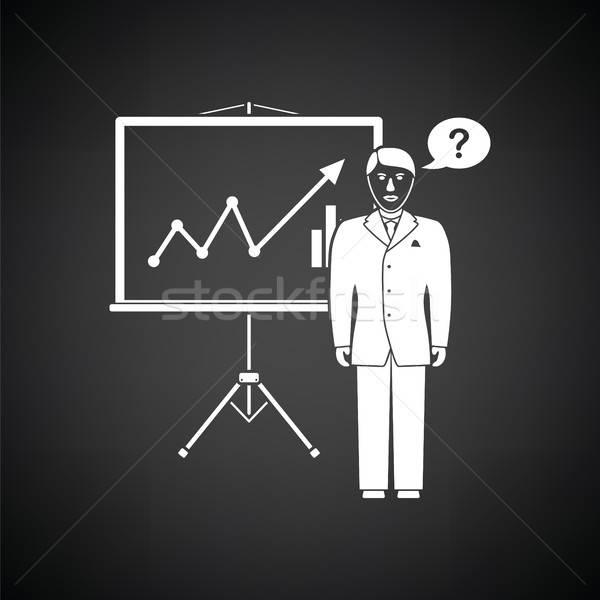 Analytik stehen Symbol schwarz weiß Mann abstrakten Stock foto © angelp