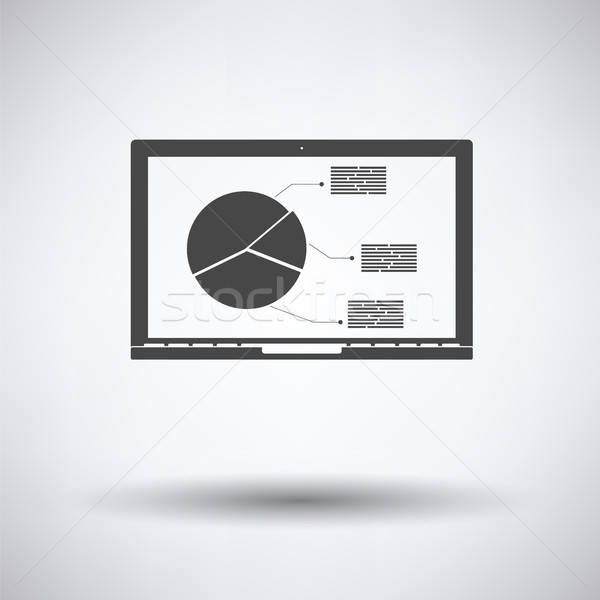 Laptop analytics diagram icon grijs business Stockfoto © angelp