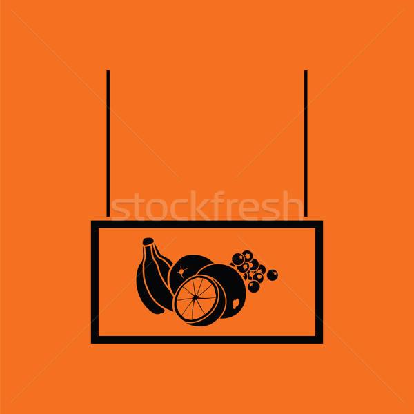Vruchten markt afdeling icon oranje zwarte Stockfoto © angelp