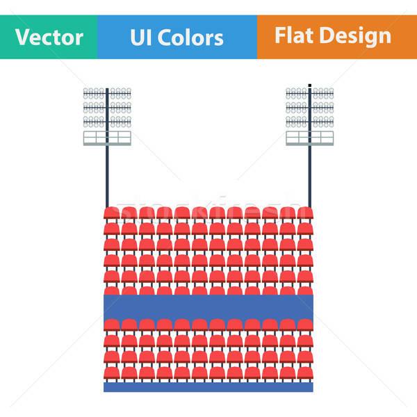 Stadium tribune with seats and light mast icon.  Stock photo © angelp