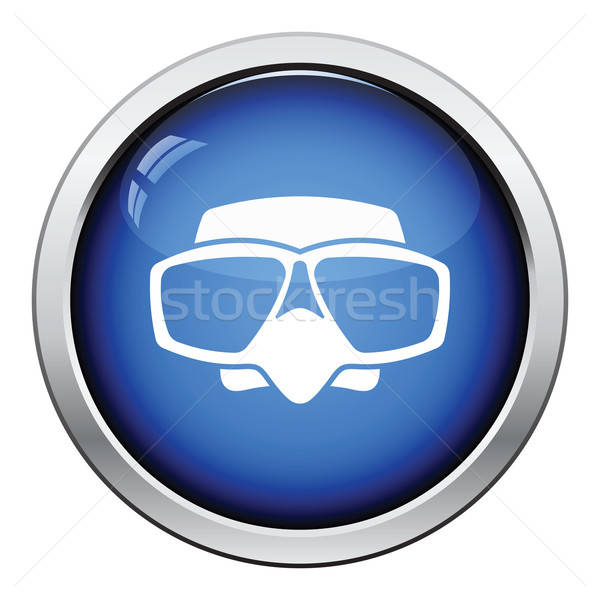 Icon scuba masker glanzend knop ontwerp Stockfoto © angelp