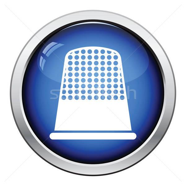 Kleermaker vingerhoed icon glanzend knop ontwerp Stockfoto © angelp