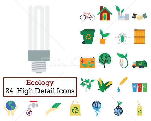 Сток-фото: набор · 24 · экология · иконки · цвета
