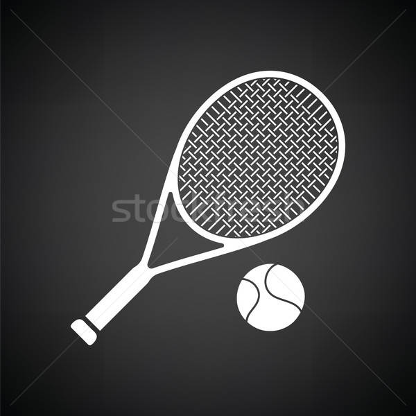 Tenis Rachetă Bilă Icoană Negru Alb Negru