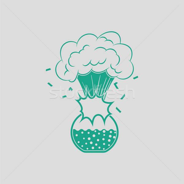 икона взрыв химии колба серый зеленый Сток-фото © angelp