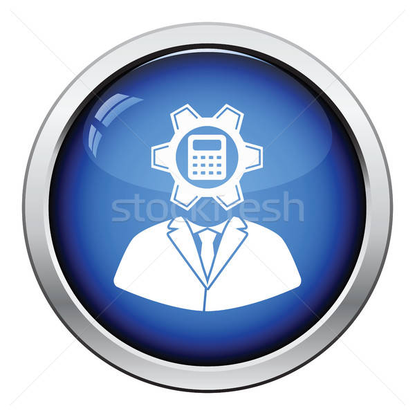 Analyst with gear hed and calculator inside icon Stock photo © angelp