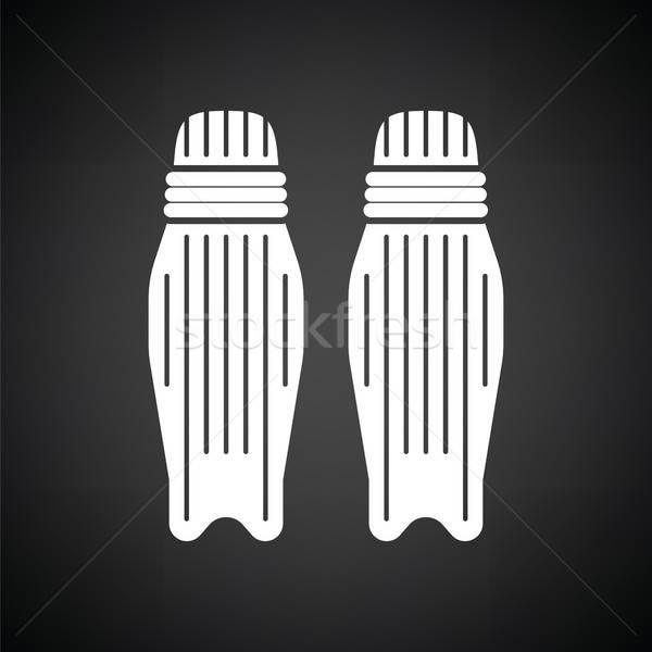 Cricket been bescherming icon zwart wit sport Stockfoto © angelp