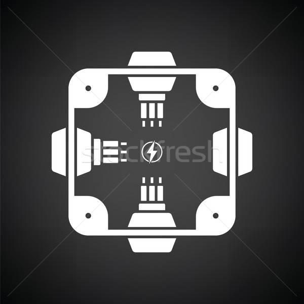 Elektryczne skrzyżowanie polu ikona czarno białe ściany Zdjęcia stock © angelp