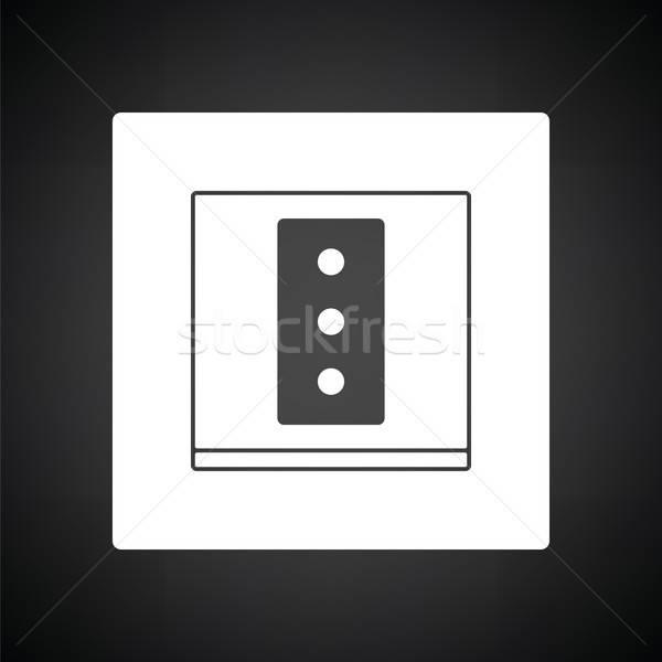Stok fotoğraf: Elektrik · soket · ikon · siyah · beyaz · imzalamak · siyah