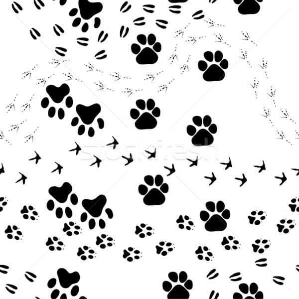 állat lábnyom végtelen minta végtelenített vektor minta Stock fotó © angelp