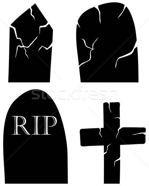 Mezar ayarlamak halloween siyah elemanları çapraz Stok fotoğraf © angelp