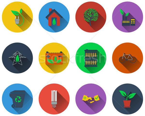セット 生態学的な アイコン デザイン eps ストックフォト © angelp