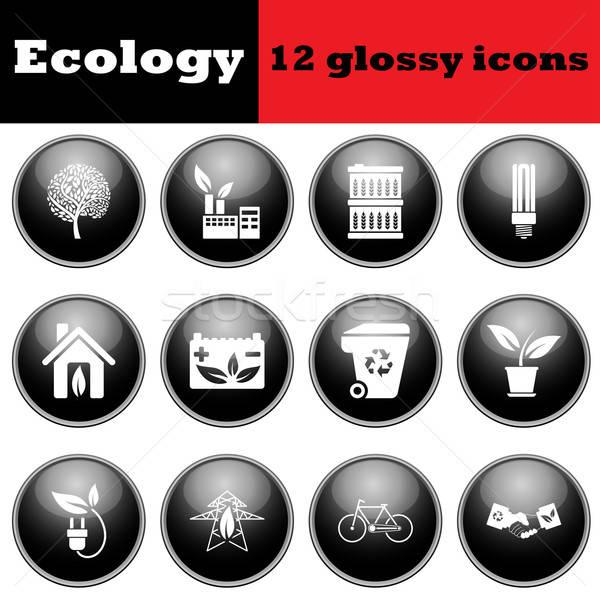 Foto stock: Establecer · ecológico · iconos · eps