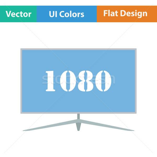 Geniş tv ikon renk dizayn imzalamak Stok fotoğraf © angelp