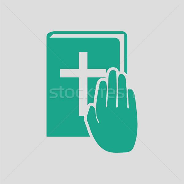 Hand on Bible icon Stock photo © angelp