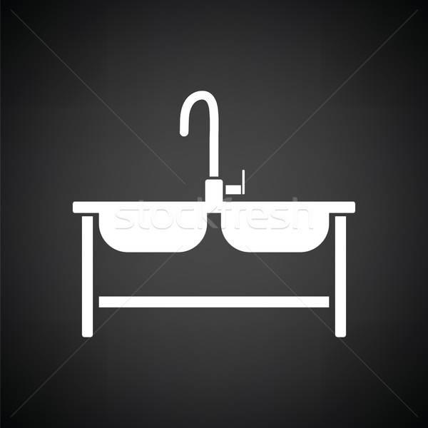 Dobrar afundar ícone preto e branco água casa Foto stock © angelp