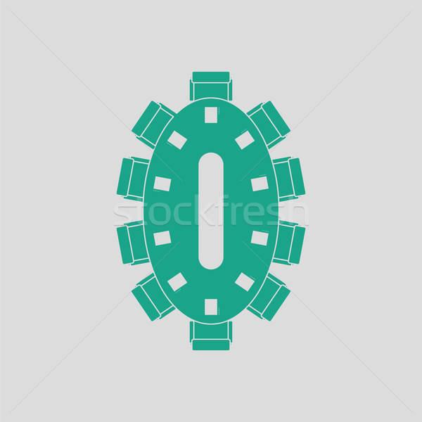 Tárgyal asztal ikon szürke zöld üzlet Stock fotó © angelp