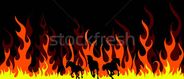 Vlam paarden paard silhouetten brand lichaam Stockfoto © angelp