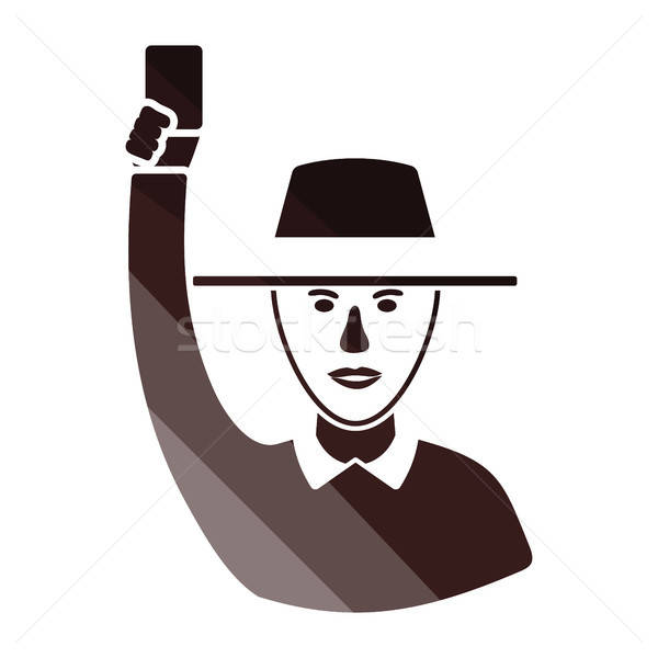 Cricket umpire with hand holding card icon Stock photo © angelp